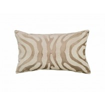 ZEBRA SM. RECT. PILLOW / FAWN VELVET / WHITE BEADS 14X22
