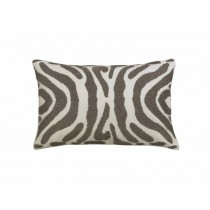 ZEBRA SM. RECT. PILLOW / IVORY VELVET / PEWTER BEADS 14X22