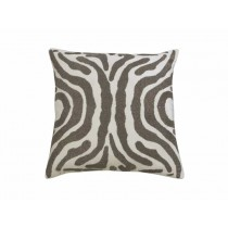 ZEBRA SQ. PILLOW / IVORY VELVET / PEWTER BEADS 24X24