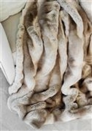 Chinchilla-Truffle Faux Fur Throw