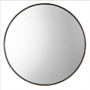 Agoura Round Decorative Mirror with Antique Metallic Silver-Leaf Frame