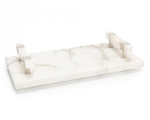 Alabaster Tray w/Polished Nickel Handles