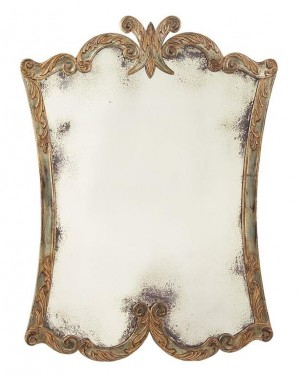 Arezzo Portrait Mirror, Aged/Distressed Silver Gilt Finish w/Hand-Carved Acanthus Leaf Frame Decorative Mirror