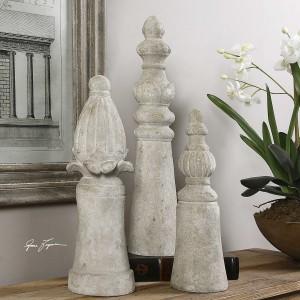 Asmund Aged Ivory Finials, Set/3
