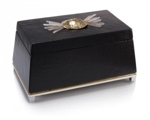 Black Crackled Box w/Brass Turtle Shell & Crystal