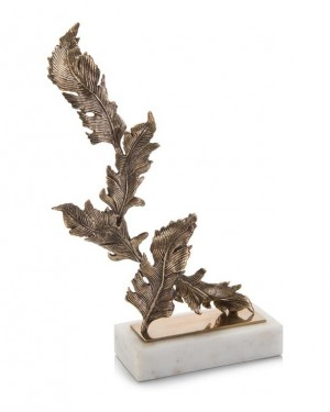 Antique Brass Chinkapin Leaves Sculpture, Sm