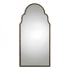 Braydon Metal Arched Oversized Mirror in Bronze & Gold-Leaf Undertones