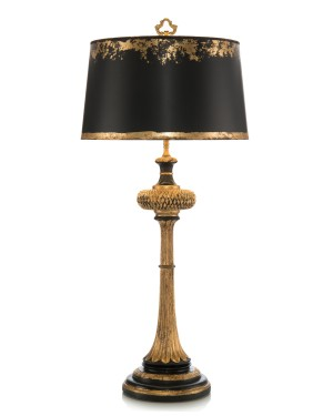 "Black & Gold Carved Wood Table Lamp  36"" H"
