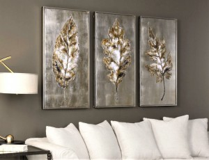 Champagne Leaves Hand Painted Canvases, Set/3