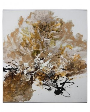 Chen Qi's Gilt & Charcoal Textural Oil of Golds/Black/Grays