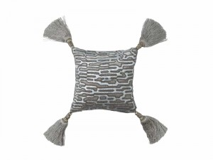 CHRISTIAN SM. SQ. PILLOW / PLATINUM VELVET / SILVER PRINT / SILVER BEADS 10X10