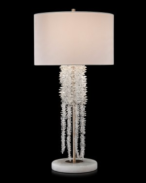 Cascading Crystal Waterfall Lamp in Antique Silver on Alabaster Base