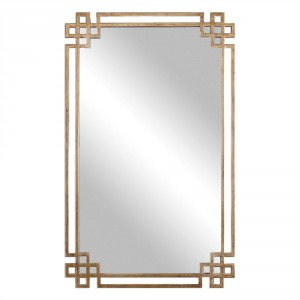 Devoll Decorative Mirror with Antiqued Oxidized Gold Finished Frame