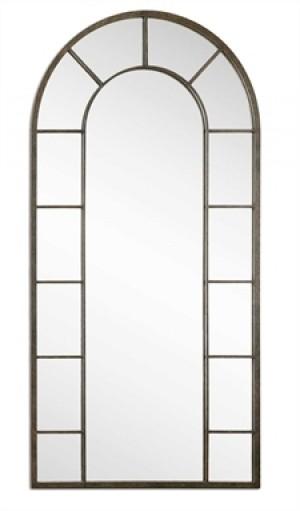 Dillingham Arched Decorative Mirror w/Aged Black Metal Rectangle Mirror Border