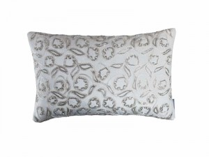 ELLIE SM. RECT. PILLOW / IVORY VELVET / IVORY RIBBON / BEADS 14X22