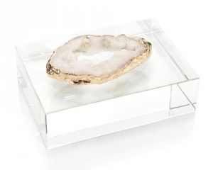 White, Gold-Plated Geode Slice on Crystal Block
