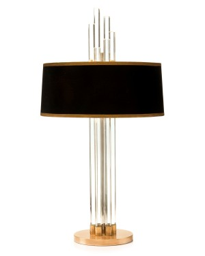 Graduating Crystal Column Designer Lamp w/Blk/Gold Shade