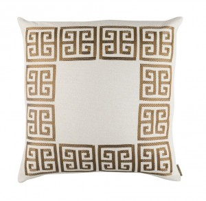 GUY EURO PILLOW - IVORY BASKETWEAVE & GOLD EMBROIDERY 28X28