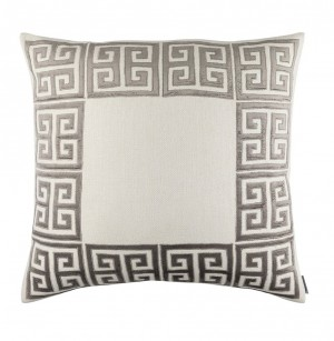 GUY EURO PILLOW - IVORY BASKETWEAVE & PLATINUM EMBROIDERY 28x28