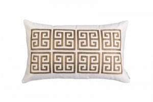 GUY LG. RECT. BORDER PILLOW IVORY BASKETWEAVE/ GOLD METALLIC EMBROIDERY 18X30
