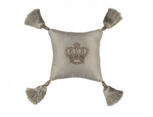 IMPERIAL CROWN SM. SQ. PILLOW / BLUE SILVER SILK / SILVER ZARDOZI 10X10