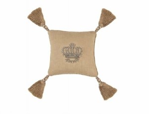 IMPERIAL CROWN SM. SQ. PILLOW / NATURAL LINEN / SILVER ZARDOZI 10X10