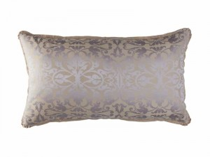JACKIE KING PILLOW / CHAMPAGNE SILVER SILK TENCEL JACQUARD 20X36