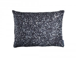 JEWEL SM. RECT. PILLOW / SILVER BEADS 12x16