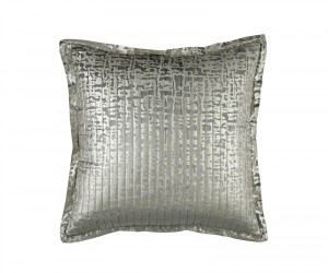 JOLIE QUILTED EURO PILLOW SILVER VELVET / GOLD PRINT 26X26