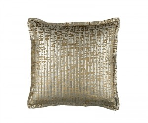 JOLIE QUILTED EURO PILLOW STRAW VELVET / GOLD PRINT 26X26