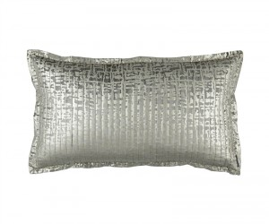 JOLIE QUILTED KING PILLOW SILVER VELVET / GOLD PRINT 20X36