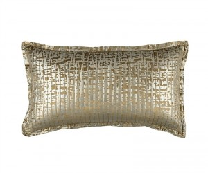 JOLIE QUILTED KING PILLOW STRAW VELVET / GOLD PRINT 20X36