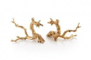 "9 x 12 x 7"" (ea) Just Twigs in Gold Leaf, Set/2"