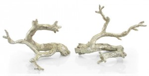 "9 x 12 x 7"" (ea) Just Twigs in Silver Leaf, Set/2"