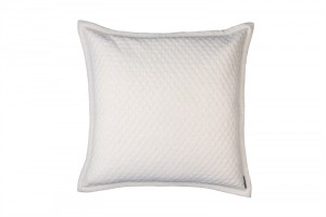 "LAURIE 1"" DIAMOND QUILTED EUROPEAN PILLOW IVORY BASKETWEAVE 26X26"