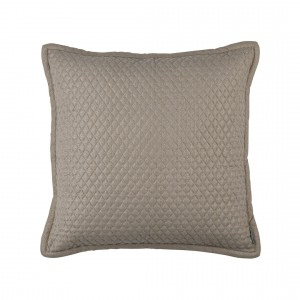 "LAURIE 1"" DIAMOND QUILTED EURO PILLOW STONE BASKETWEAVE 26X26"
