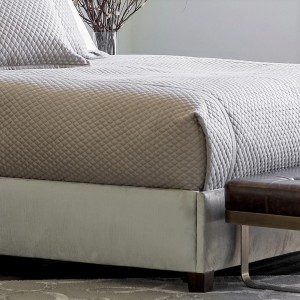 "LAURIE 1"" DIAMOND QUILTED KING COVERLET STONE BASKETWEAVE 112X98"