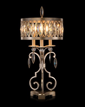 Marquis Faceted Crystal Lamp and Antique Silver Shade