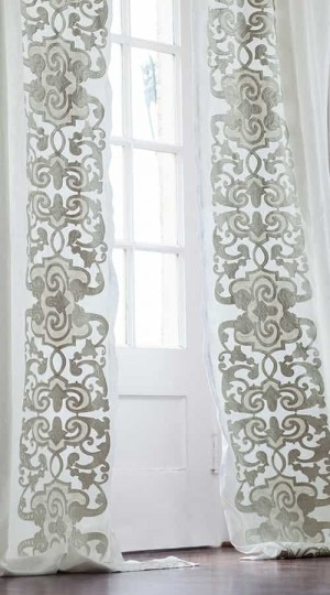 Mozart Custom Drapery Panel White Linen/Ice Silver Velvet Left & Right
