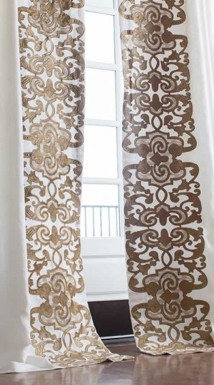 Mozart Custom Drapery Panel Set - White Linen/Straw Velvet Left & Right