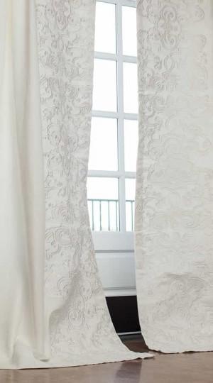 Mozart White Linen Custom Drapery
