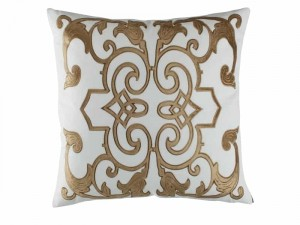 MOZART SQ. PILLOW / WHITE LINEN / STRAW VELVET 24x24