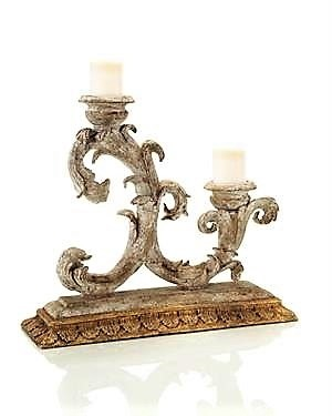 "18 x 20.5 x 6.5"" Old World Gesso Double Candle"