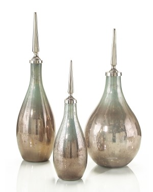 Opalescent Glass Bottles, Set/3