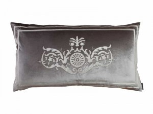 PARIS KING PILLOW / SILVER VELVET / IVORY VELVET 20X36
