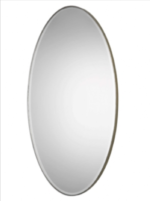 Petra Oval Oversized Mirror in Antiqued Silver Leaf