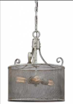 Pontoise Rustic Three-Light Pendant in Distressed Antique Ivory and Espresso Undertones