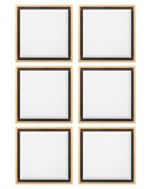 Set of 6 Reverse Shadow Box Beveled Decorative Mirrors