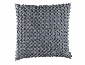 RIBBON SQ. PILLOW / BLUE S&S 20X20