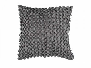 RIBBON SQ. PILLOW / PEWTER S&S 20X20